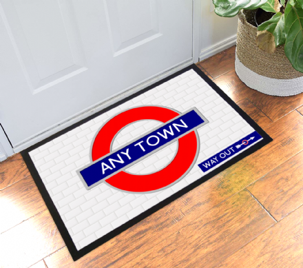 London Tube Sign Personalised Town or Name Welcome Mat Doormat